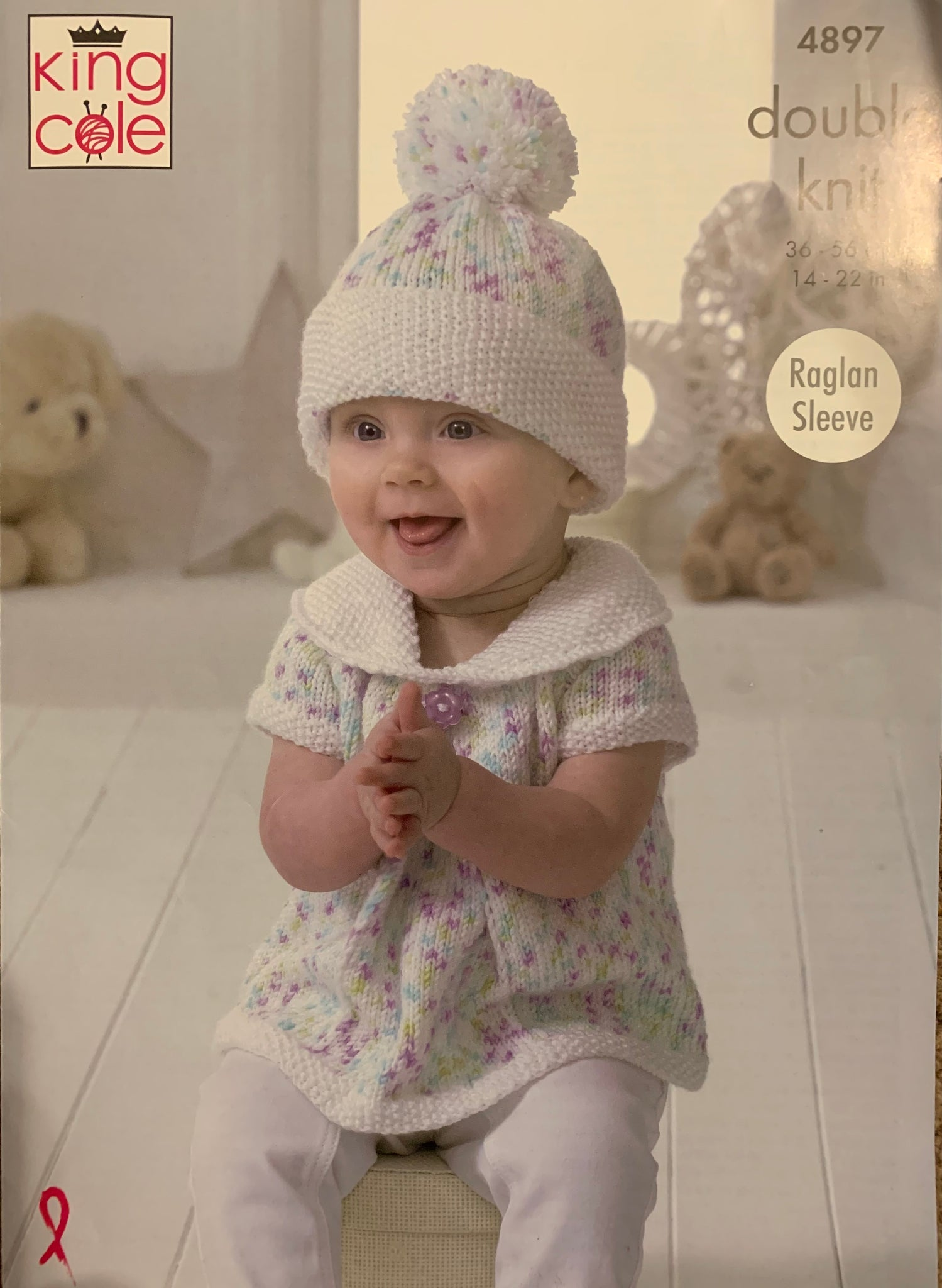 4897 King Cole double knit baby dress, hoodie, top, hat and leggings knitting pattern