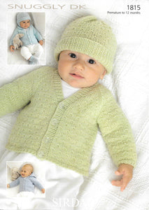 1815 Sirdar Snuggly dk baby cardigans, hats, bootees and mittens knitting pattern