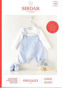 5364 Sirdar Snuggly 3ply baby romper and bootees knitting pattern