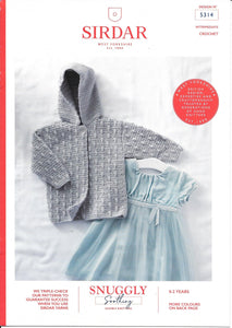5314 Sirdar Snuggly Soothing dk baby child hooded jacket crochet pattern
