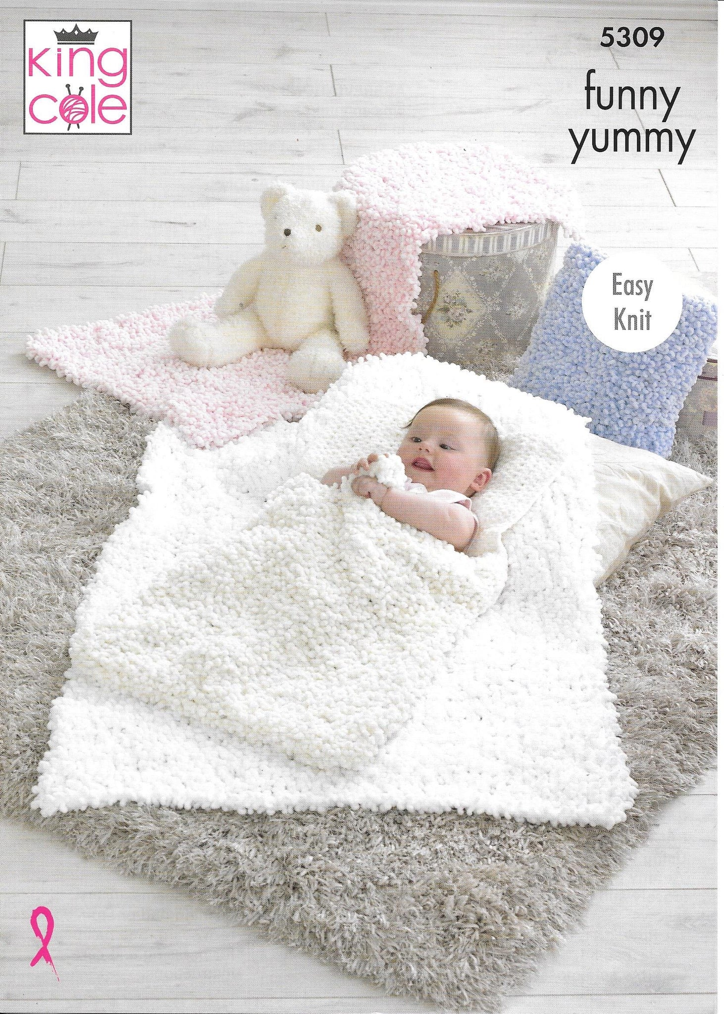 5309 King Cole Funny Yummy cot blanket, pram cover, sleeping bag and cushion knitting pattern