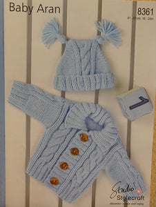 8361 Stylecraft Wondersoft Baby Aran cardigan and hat knitting pattern