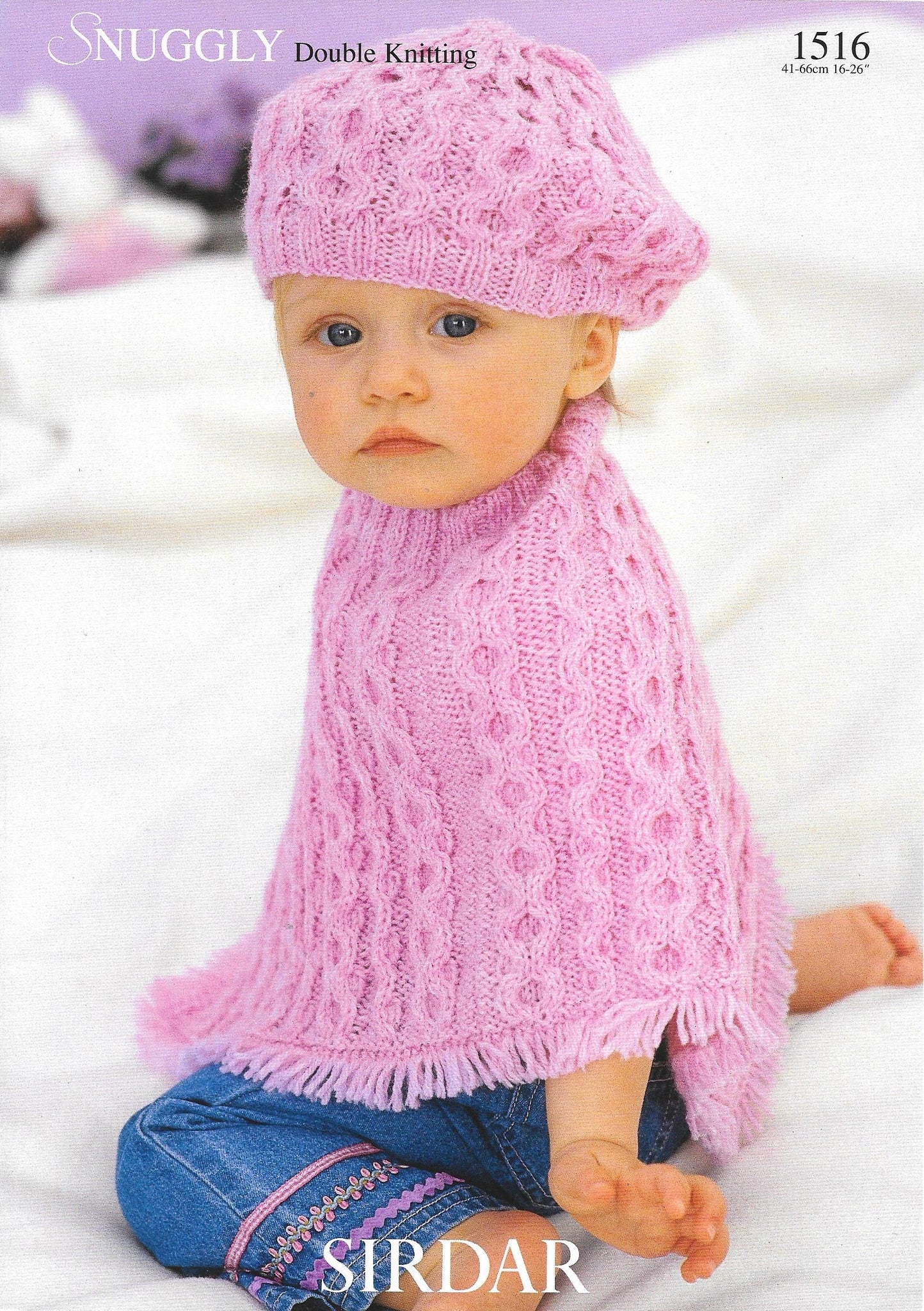 1516 Sirdar Snuggly dk baby child poncho and beret knitting pattern