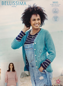 9693 Stylecraft Bellissima chunky Ladies sweater and cardigan knitting pattern