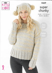 5669 King Cole Timeless Classic Super Chunky ladies sweater, hat and scarf knitting pattern