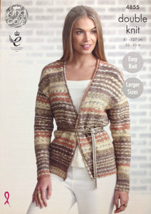 4855 King Cole dk ladies cardigan and waistcoat knitting pattern