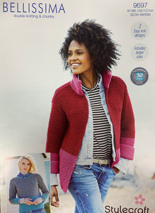 9697 Stylecraft Bellissima dk and chunky ladies jacket and jumper knitting pattern