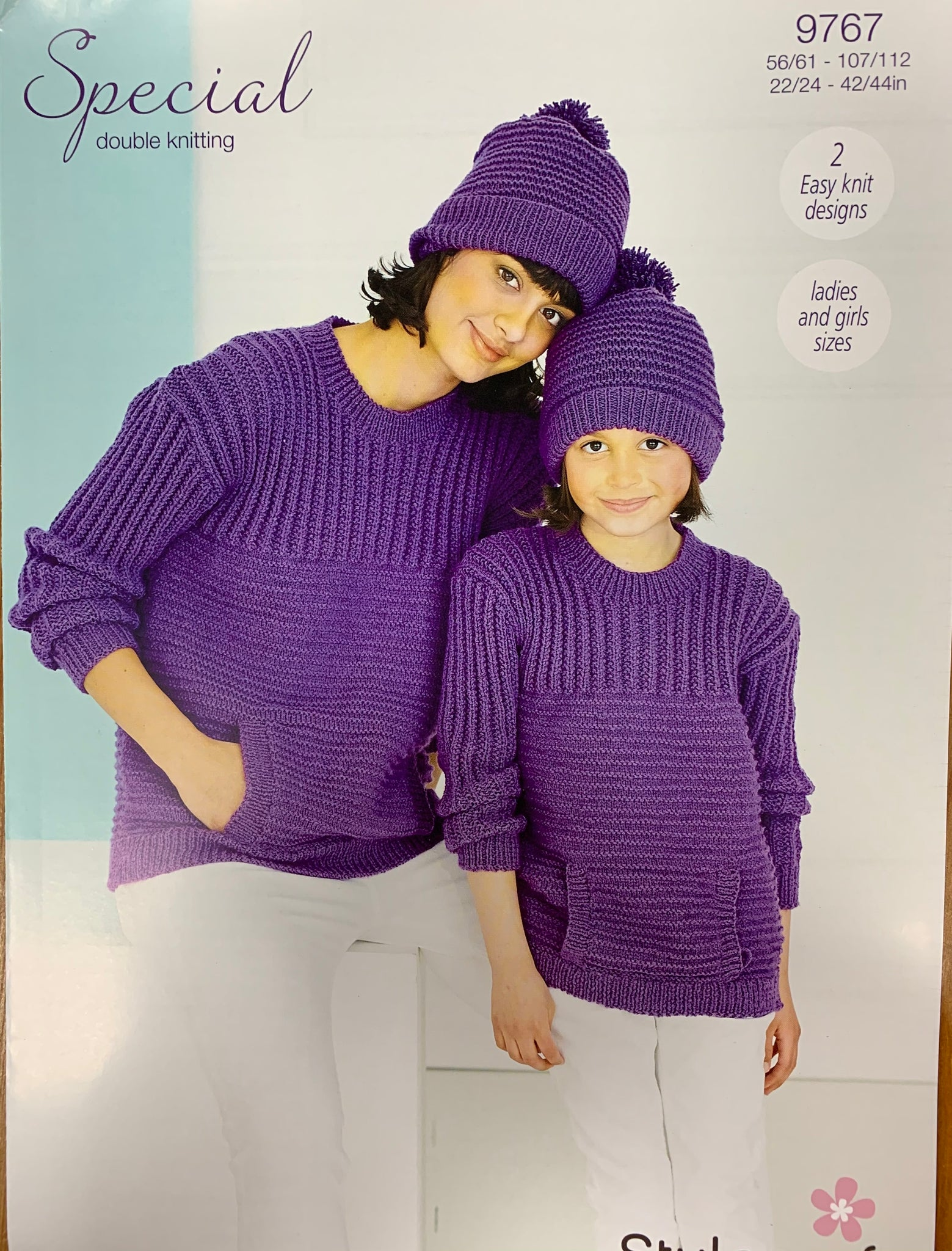 9767 Stylecraft Special dk ladies and child sweater and hat knitting pattern