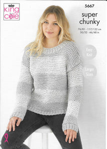 5667 King Cole super chunky ladies sweater and cardigan knitting pattern