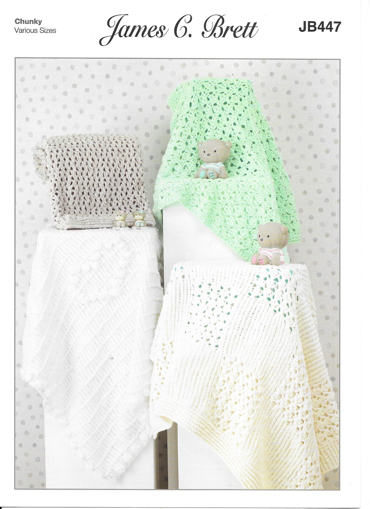 JB447 James C Brett Flutterby Pram and cot blankets knitting pattern