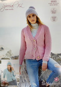 9593 Stylecraft Special XL super chunky ladies cardigans knitting pattern