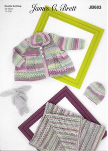 683 JB683 James C Brett Baby Twinkle Prints dk baby matinee jacket, hat and blanket knitting pattern