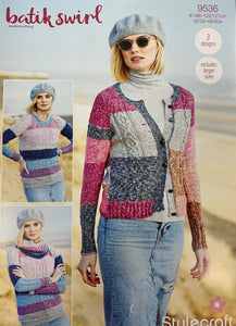 9536 Stylecraft batik swirl dk ladies cardigan, sweater and cowl knitting pattern