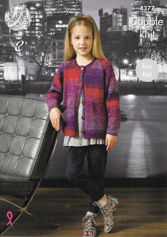 4377 King Cole Shine dk girl cardigan and top knitting pattern