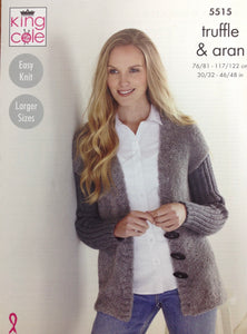 5515 King Cole truffle and Aran ladies jacket and sweater knitting pattern