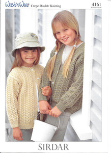 4161 Sirdar wash 'n' wear crepe dk child cardigan knitting pattern