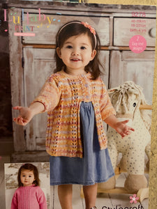 9278 Stylecraft Lullaby dk baby children sweater and cardigan knitting pattern