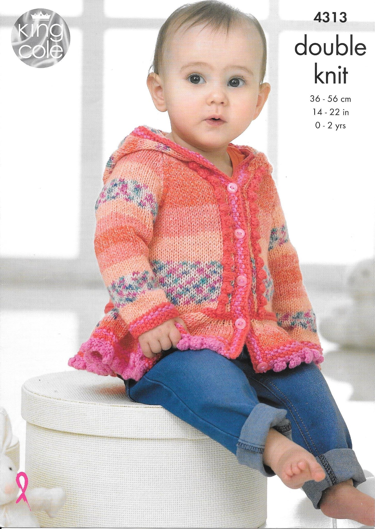 4313 King Cole dk child dress, hoodie, poncho and mittens knitting pattern