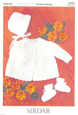 3191 Sirdar Snuggly dk baby matinee jacket, bonnet and bootees knitting pattern