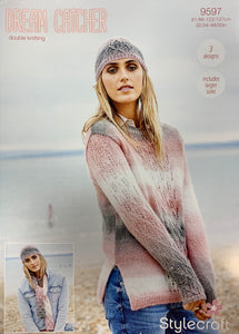9597 Stylecraft Dream Catcher dk ladies sweater, scarf and hat knitting pattern