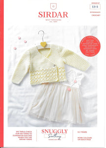 5315 Sirdar Snuggly Soothing dk baby child cardigan crochet pattern