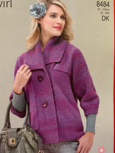 8484 Stylecraft Twirl dk ladies jacket knitting pattern