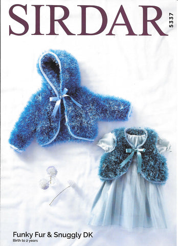 5337 Sirdar Funky Fur & Snuggly dk baby child boleros knitting pattern