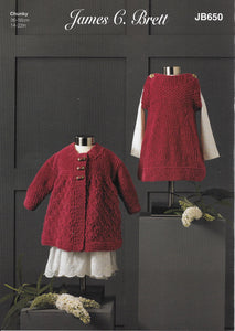 650 JB650 James C Brett Flutterby Chunky baby, girl dress and jacket knitting pattern
