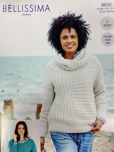 9690 Stylecraft Bellissima chunky ladies sweater round neck and rolled neck knitting pattern
