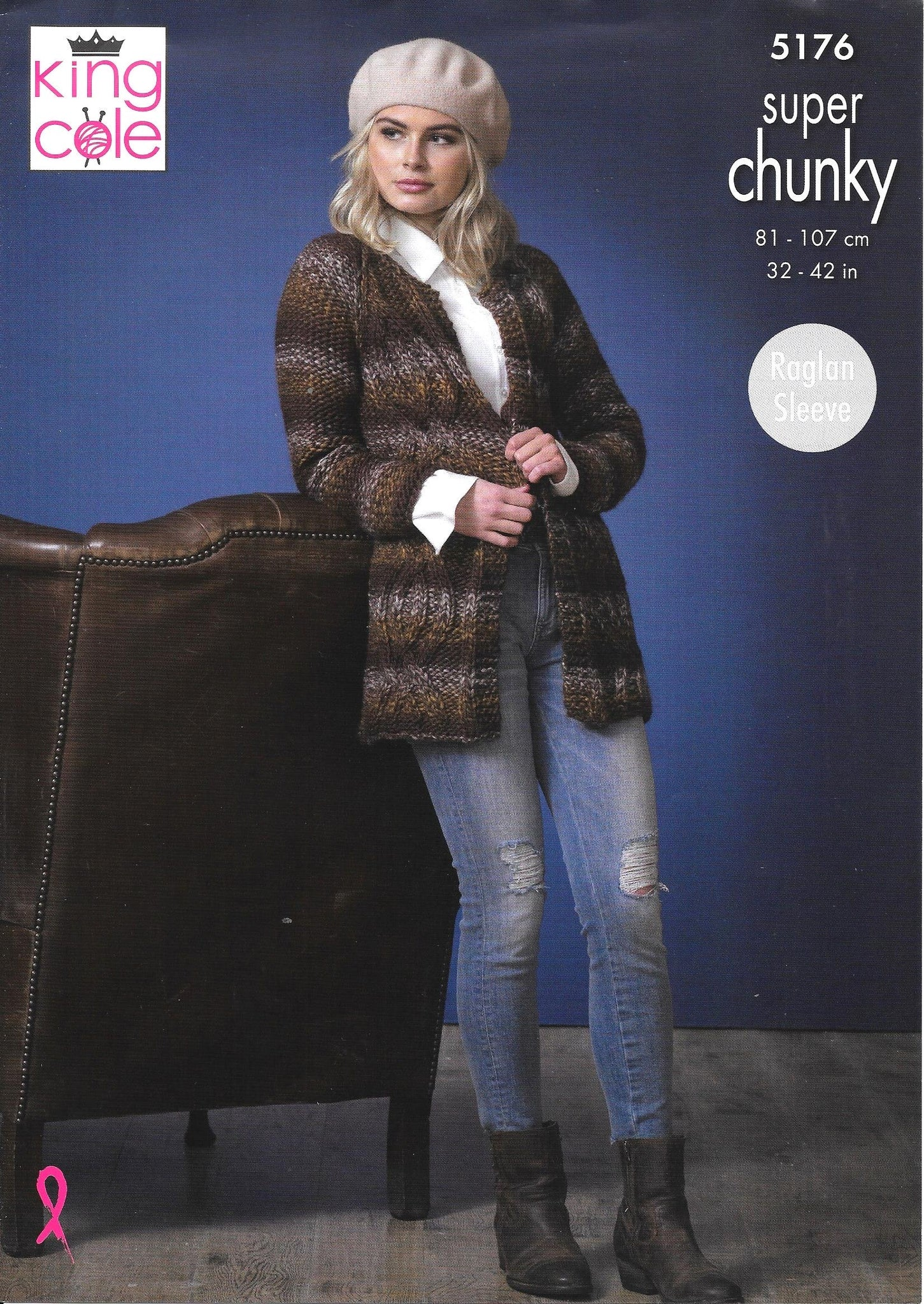 5176 King Cole super chunky ladies short and long jacket knitting pattern