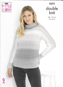5675 King Cole Curiosity dk ladies cardigan and sweater knitting pattern