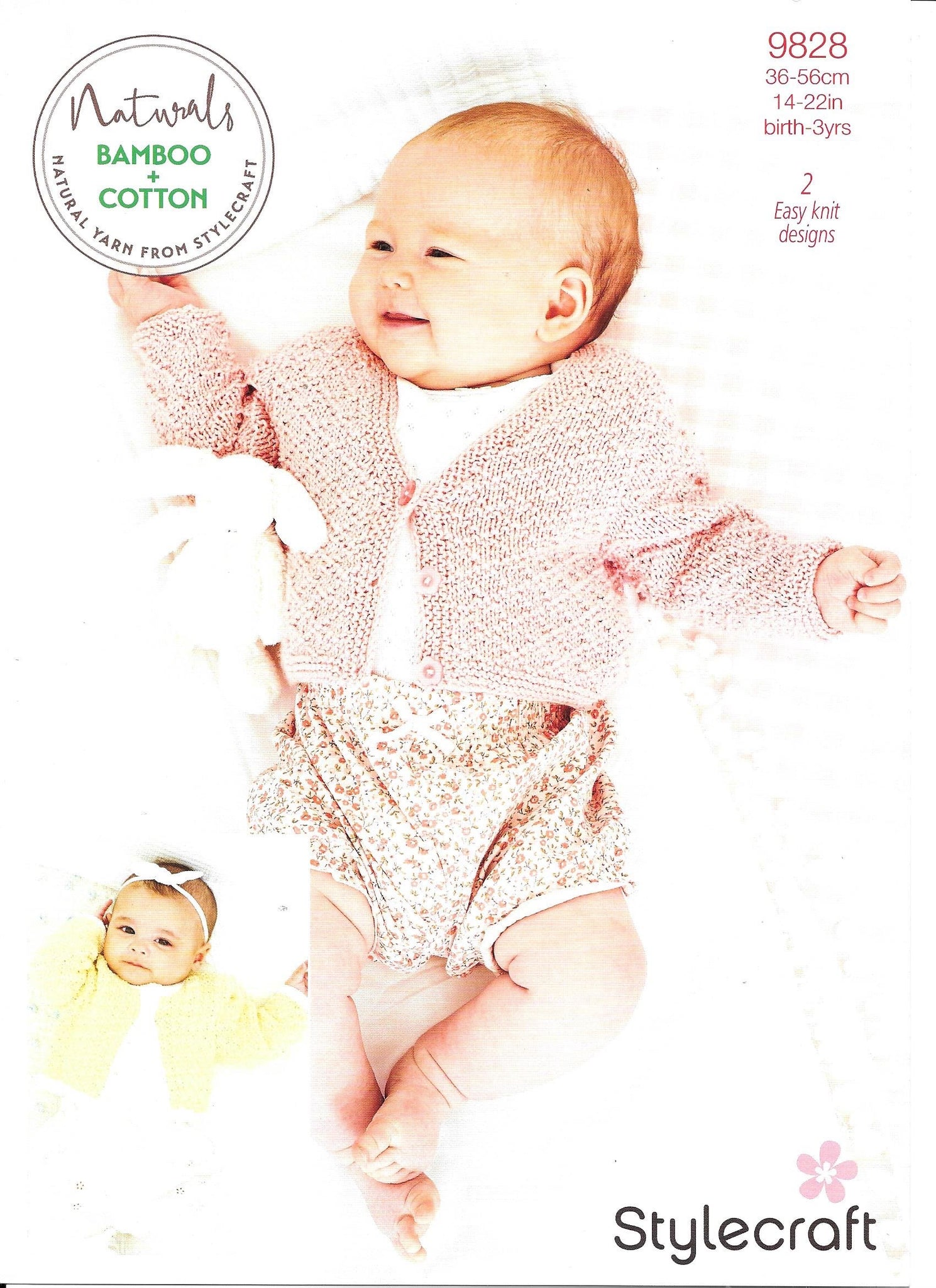 9828 Stylecraft Naturals  Bamboo and cotton baby cardigans knitting pattern