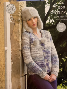 4287 King Cole super chunky ladies V neck and round neck cardigan knitting pattern