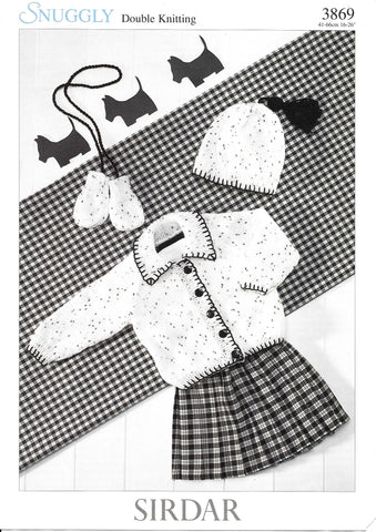 3869 Sirdar Snuggly dk baby child jacket, hat and mittens knitting pattern