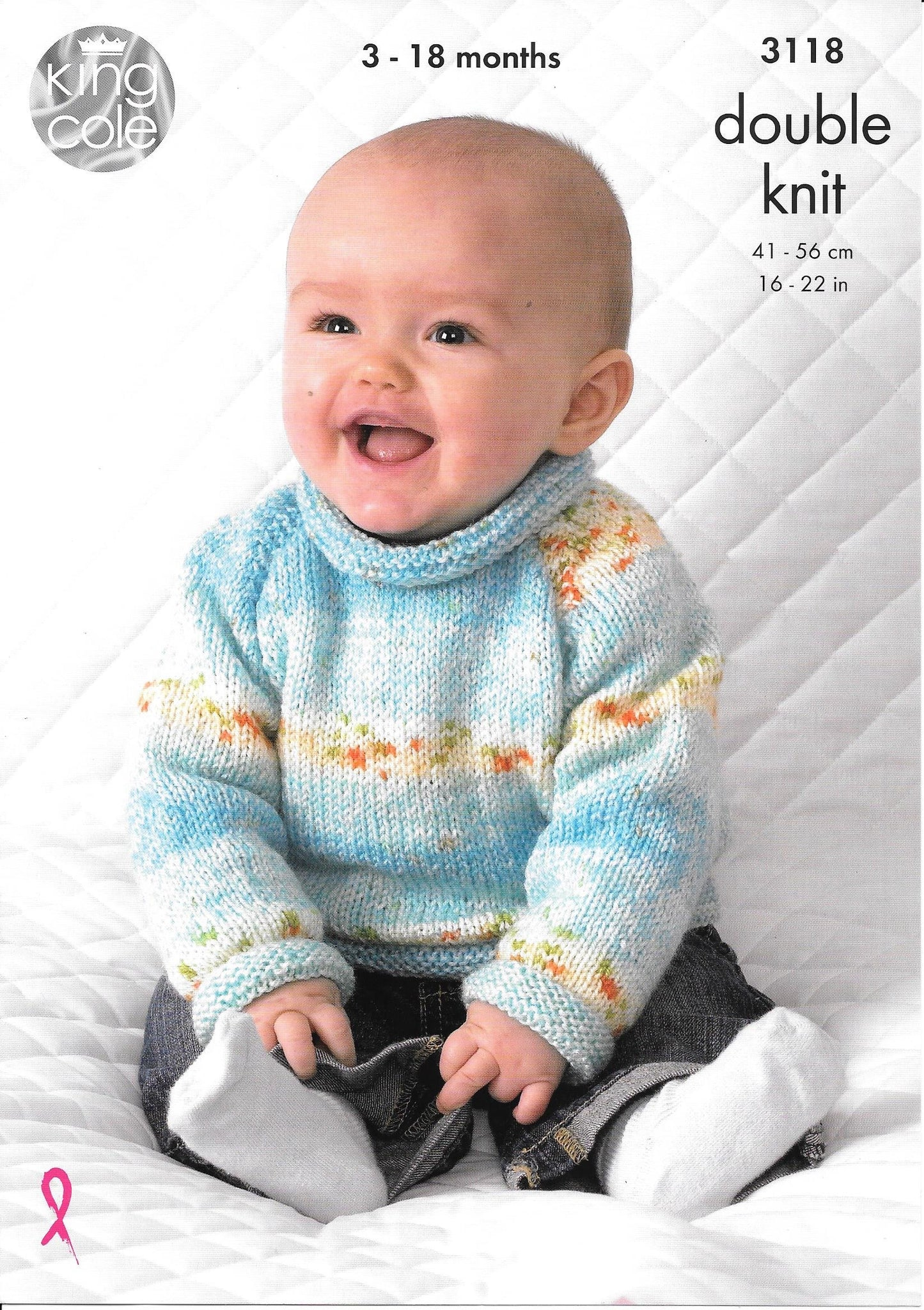 3118 King Cole Baby dk baby sweater and cardigan knitting pattern