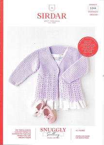 5344 Sirdar Snuggly Soothing dk baby child crochet jacket knitting pattern