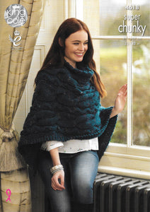 4618 King Cole super chunky ladies poncho and jumper knitting pattern