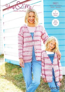 9821 Stylecraft You & Me dk lady child cardigan and sweater knitting pattern