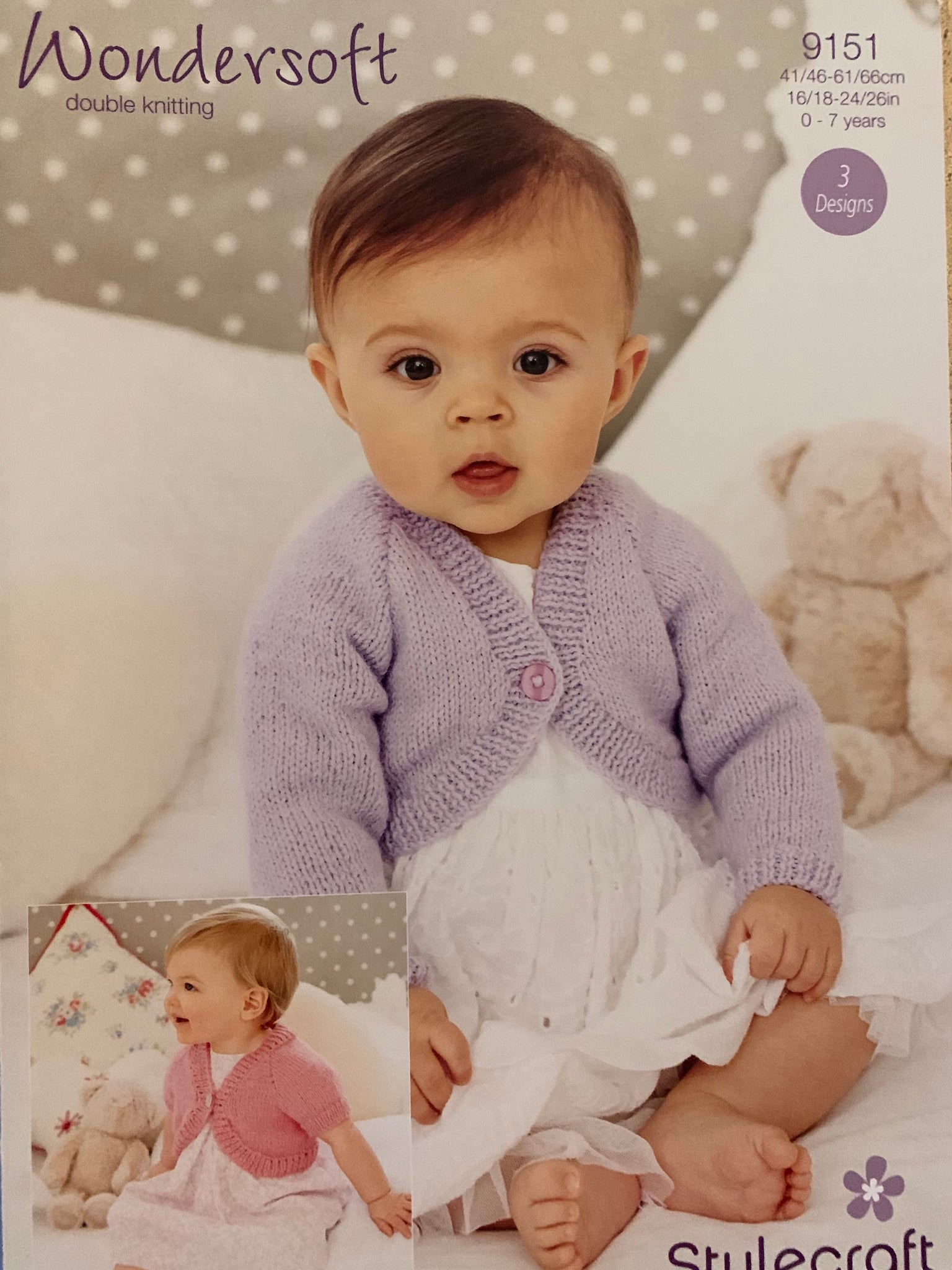 9151 Stylecraft Wondersoft DK baby children bolero knitting pattern