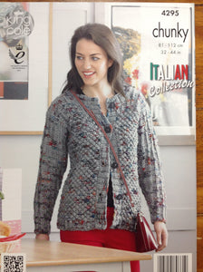 4295 King Cole Florence Chunky ladies sweater and cardigan knitting pattern