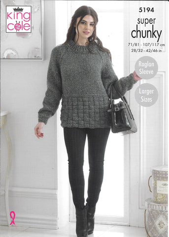 5194 King Cole Big Value Super Chunky ladies sweater, scarf, cowl and hat knitting pattern