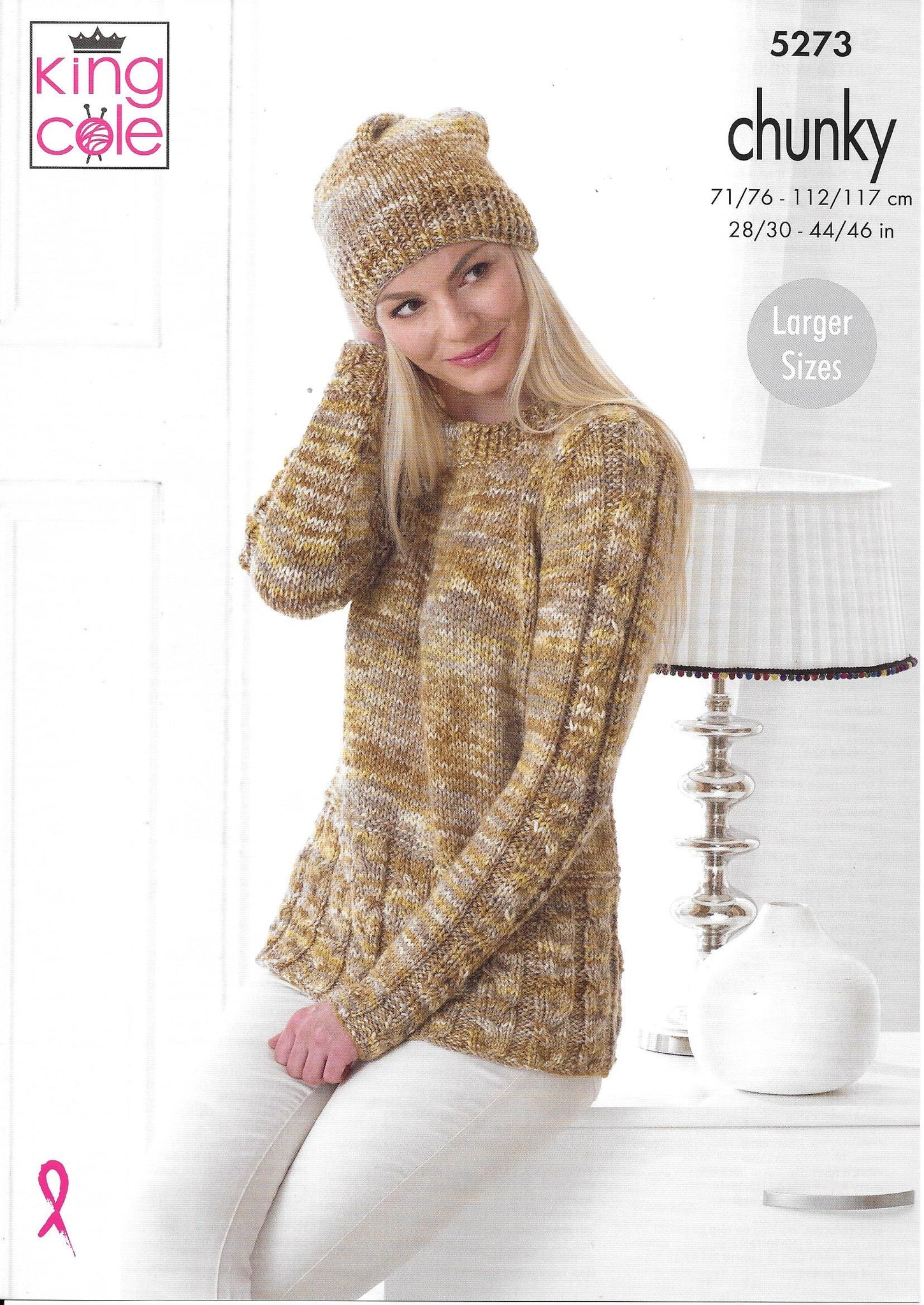 5273 King Cole chunky ladies sweater, cardigan and hat knitting pattern