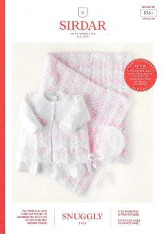 5361 Sirdar Snuggly 3ply premature and baby coat, bonnet and blanket