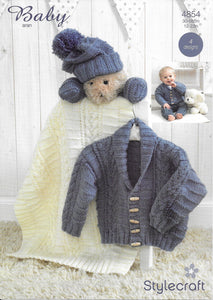 4854 Stylecraft Baby Aran baby jacket, hat, mittens and blanket knitting pattern