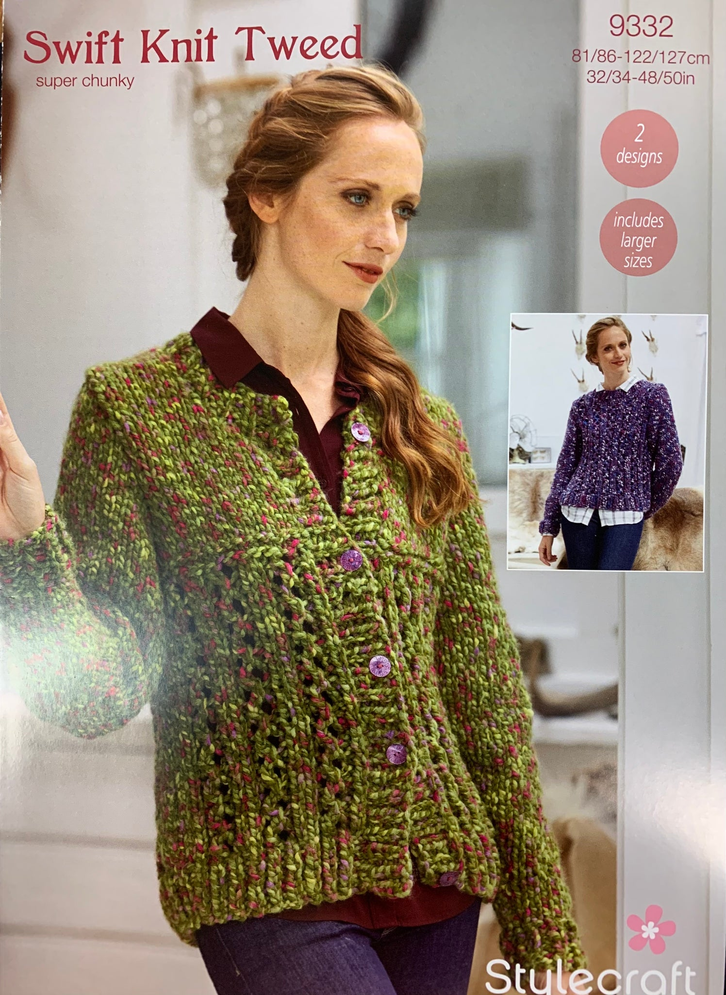 9332 Stylecraft Swift Knit Tweed super chunky ladies crew neck sweater and cardigan knitting pattern