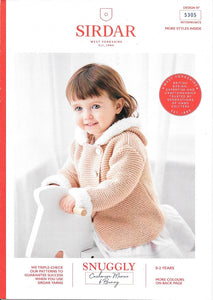 5305 Sirdar Snuggly Cashmere Merino and Bunny hooded jacket knitting pattern