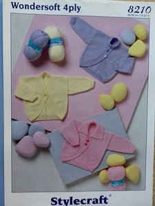 8210 Stylecraft Wondersoft 4ply baby boleros cardigans knitting pattern