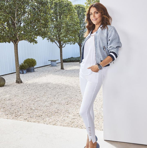 Bethenny Frankel wearing Denim Crop Bomber Jacket - Valence