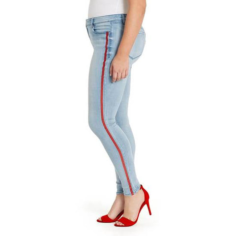 Mid-Rise Skinny Jeans Red Stripe - Genesee