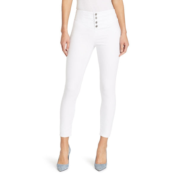 White Skinnygirl jeans with corsette waist